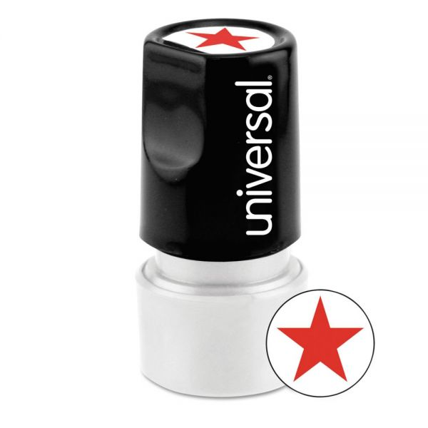 Universal Round Message Stamp, STAR, Pre-Inked/Re-Inkable, Red