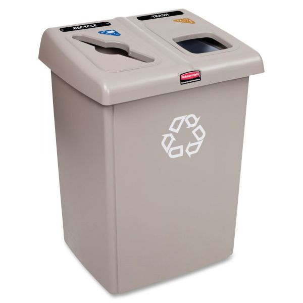 Rubbermaid Commercial Glutton Recycling Station, Two-Stream, 46 gal, Beige