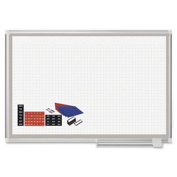 MasterVision All-Purpose Planning Board w/Accessories, 1x1 Grid, 48x36, Aluminum Frame