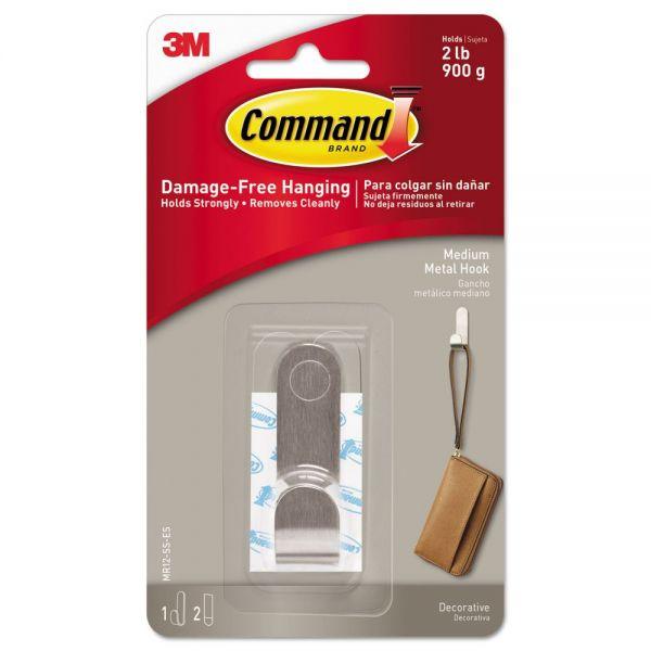Command Decorative Hooks, Medium, 1 Hook & 2 Strips/Pack