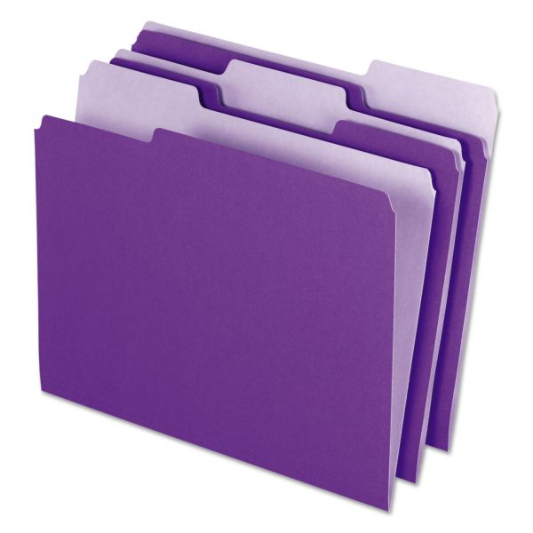 Pendaflex Interior File Folders, 1/3 Cut Top Tab, Letter, Violet, 100/Box