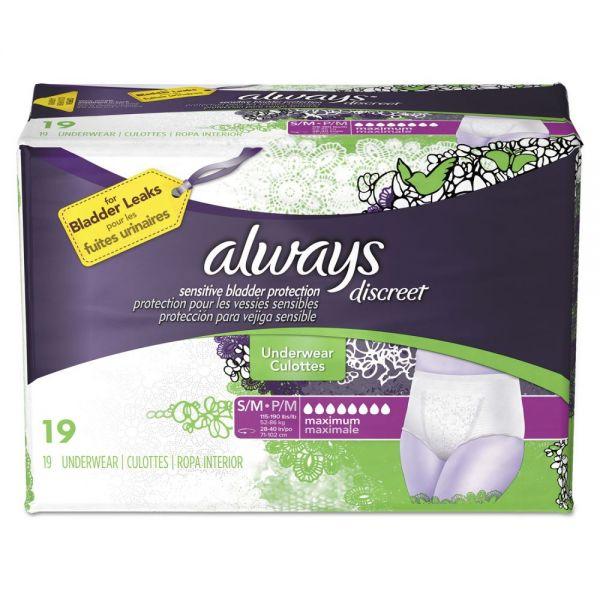 Always Discreet Incontinence Underwear, Small/Medium, Maximum Absorbency,19/Pack