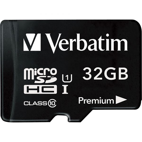 Verbatim 16GB Premium microSDHC Memory Card with Adapter, UHS-I Class 10