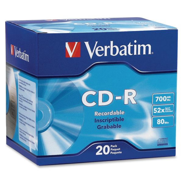 Verbatim Recordable CD Media With Slim Cases