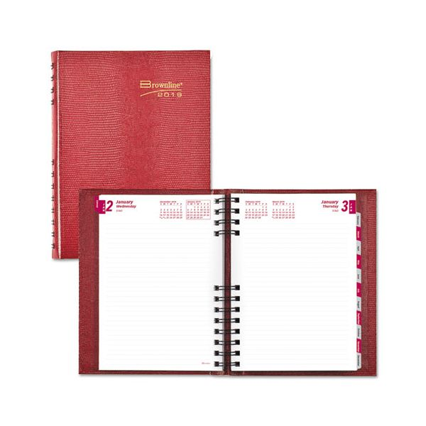 Brownline CoilPro Daily Planner, Ruled 1 Day/Page, 8 1/4 x 5 3/4, Red, 2019