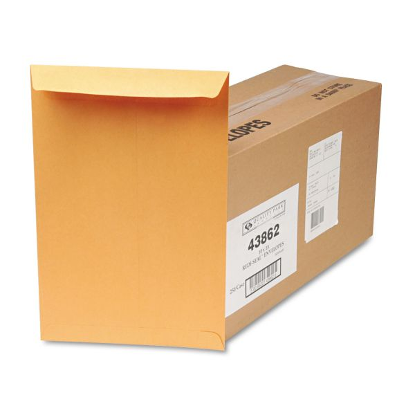 Quality Park Redi Seal Catalog Envelope, 10 x 15, Brown Kraft, 250/Box