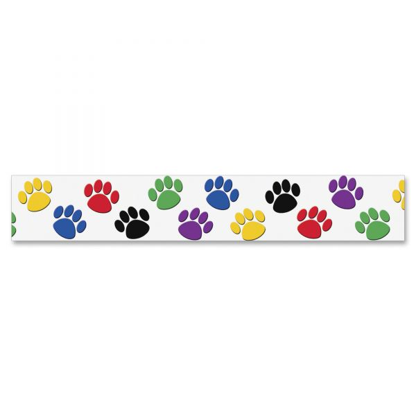 Colorful Paw Prints Border Trim