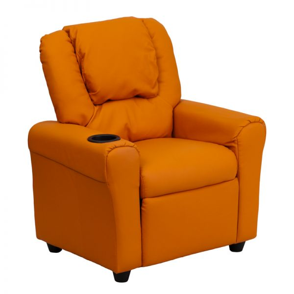 Flash Furniture Contemporary Orange Vinyl Kids Recliner with Cup Holder and Headrest