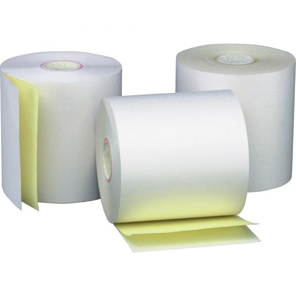 """PM Company Two Ply Receipt Rolls, 2 3/4"""" x 90 ft, White/Canary, 50/Carton"""