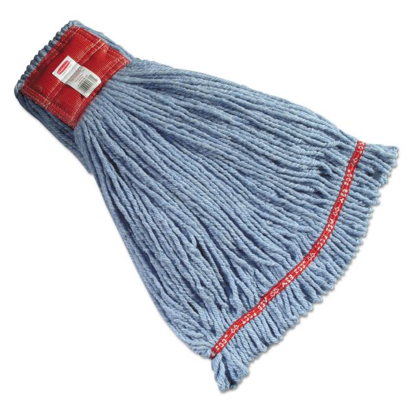 Rubbermaid Commercial Web Foot Wet Mop Heads, Shrinkless, Cotton/Synthetic, Green, Large, 6/Carton