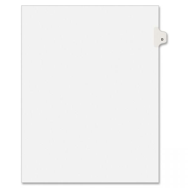 Avery Allstate-Style Legal Exhibit Side Tab Divider, Title: D, Letter, White, 25/Pack