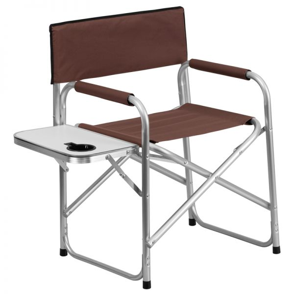 Flash Furniture Aluminum Folding Camping Chair with Table and Drink Holder in Brown
