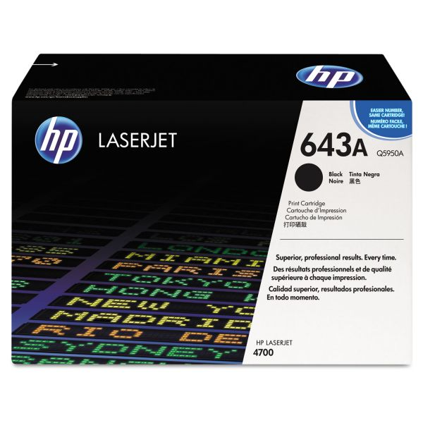HP 643A, (Q5950A) Black Original LaserJet Toner Cartridge