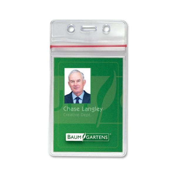 SICURIX Sicurix Sealable Cardholder, Vertical, 2 5/8 x 3 3/4, Clear, 50/Pack