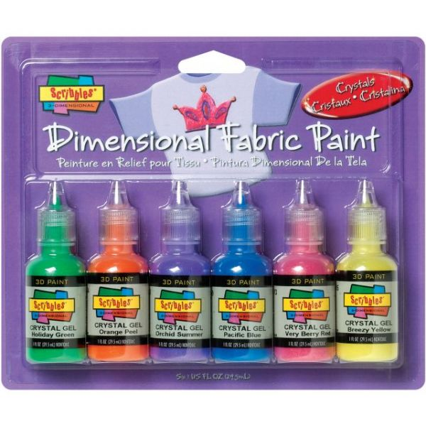 Scribbles 3d Fabric Paints 1oz 6/Pkg