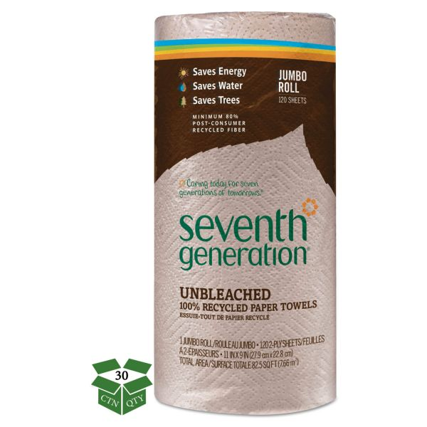 Seventh Generation Natural Unbleached 100% Recycled Paper Towel Rolls,11 x 9, 2-Ply, Brown, 120 Sheets/Roll, 30 Rolls/Carton