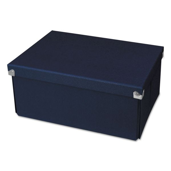 "Samsill Pop n' Store Medium Document Box - Navy Blue - 12.75""x6""x9.5"""