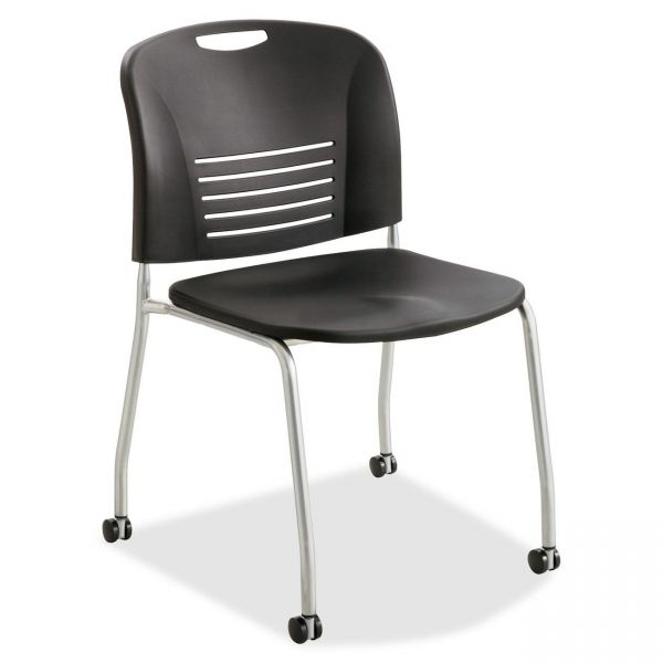 Safco Vy Straight Leg Plastic Stacking Chairs w/ Casters
