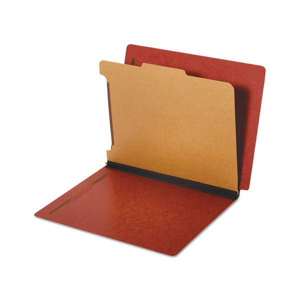 Pendaflex Dual Tab Classification Folder, 2 Sections, Top/End Tab, Letter, Red, 10/BX