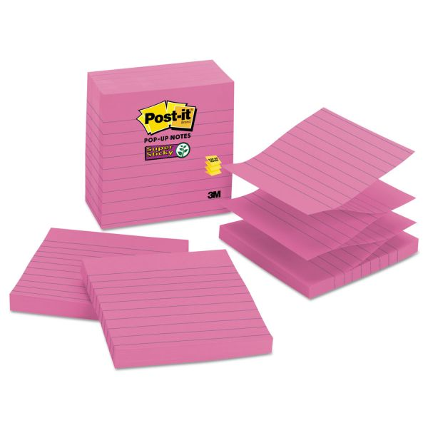 Post-it Ruled/Lined Super Sticky Pop-Up Notes
