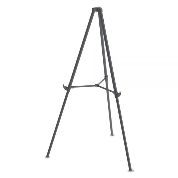 "MasterVision Quantum Heavy Duty Display Easel, 35.62"" - 61.22""H, Plastic, Black"