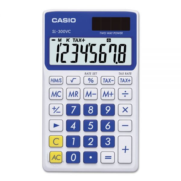 Casio SL-300SVCBE Handheld Calculator, 8-Digit LCD, Blue