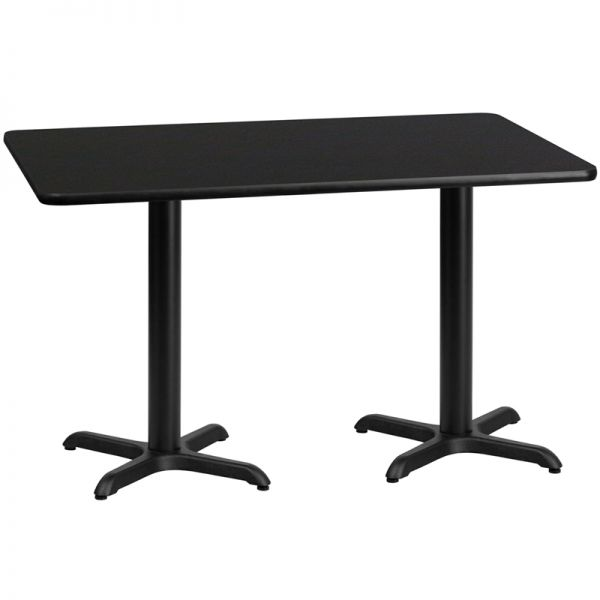 Flash Furniture 30'' x 60'' Rectangular Black Laminate Table Top with 22'' x 22'' Table Height Bases