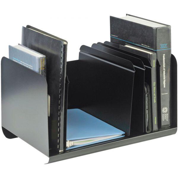 SteelMaster Six-Section Adjustable Book Rack, Steel, 15 x 11 x 8 7/8, Black