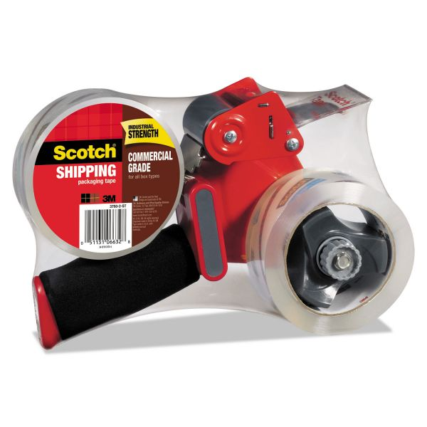 "Scotch Packaging Tape Dispenser with 2 Rolls of Tape, 1.88"" x 54.6yds"