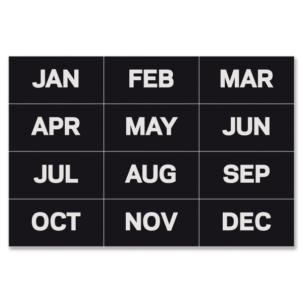 """MasterVision Calendar Magnetic Tape, Months Of The Year, Black/White, 2"""" x 1"""""""