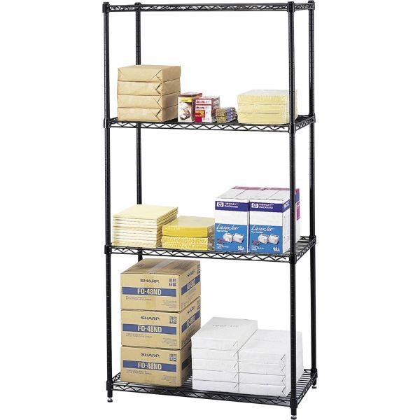 Safco Commercial Wire Shelving, Four-Shelf, 36w x 18d x 72h, Black