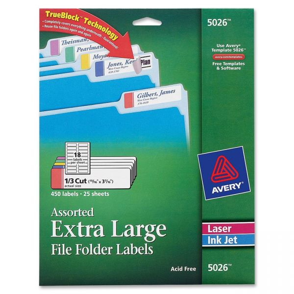 Avery Extra Large Permanent File Folder Labels