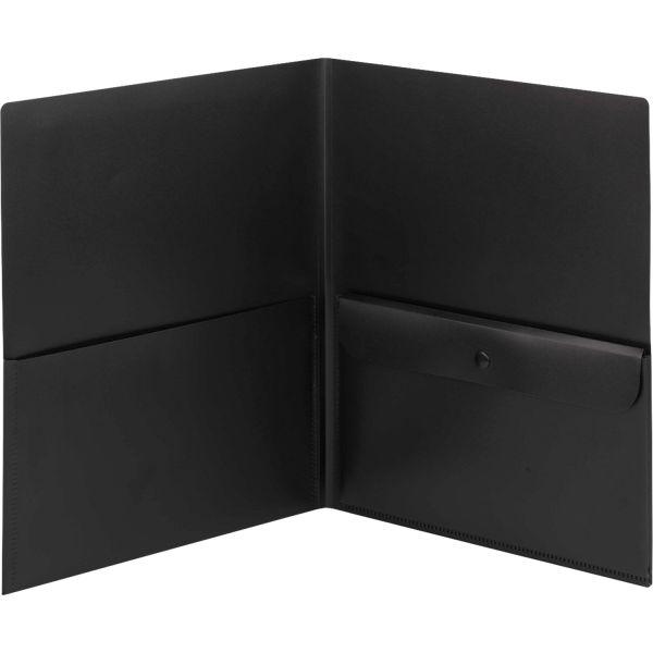 Smead Black Poly Two Pocket Folders w/Security Pocket