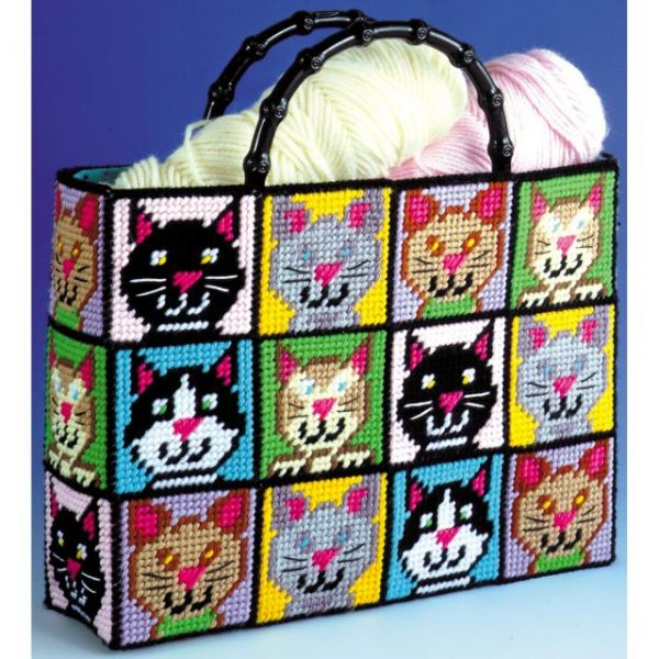 Cat Tote Bag Plastic Canvas Kit