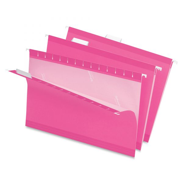 Pendaflex Reinforced Hanging Folders, 1/5 Tab, Legal, Pink, 25/Box