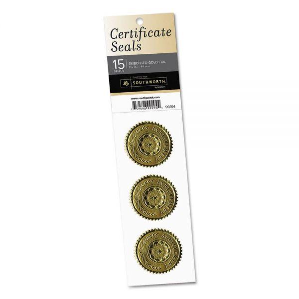 "Southworth Gold Certificate Seals, ""Achievement"", 1 3/4"" dia, Gold, 15/Pack"