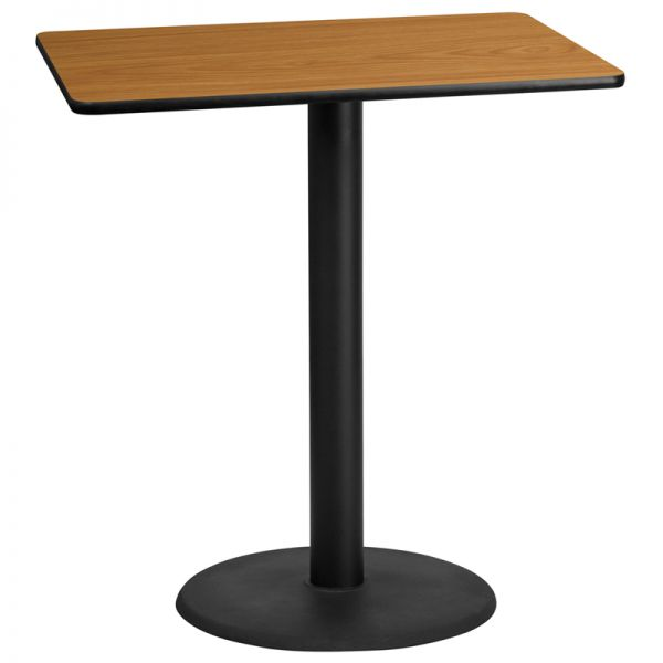 Flash Furniture 30'' x 42'' Rectangular Natural Laminate Table Top with 24'' Round Bar Height Table Base