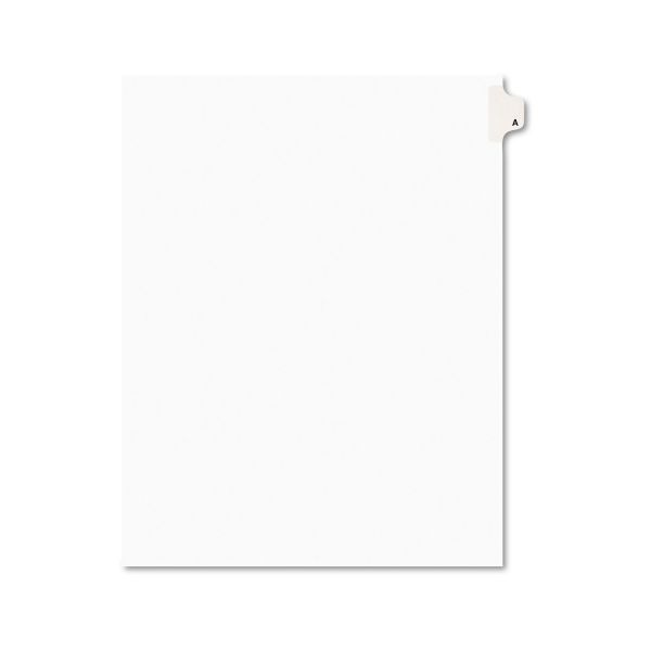 Avery Avery-Style Legal Exhibit Side Tab Dividers, 1-Tab, Title A, Ltr, White, 25/PK