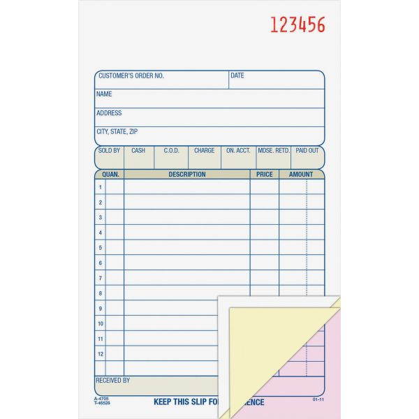 Adams Carbonless Sales Order Book, Three-Part Carbonless, 4-3/16 x 7 3/16, 50 Sheets
