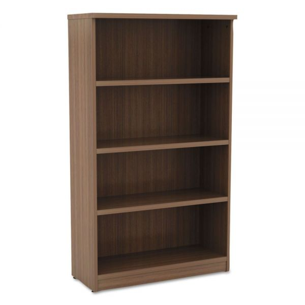 Alera Alera Valencia Series Bookcase, Four-Shelf, 31 3/4w x 14d x 55h, Modern Walnut