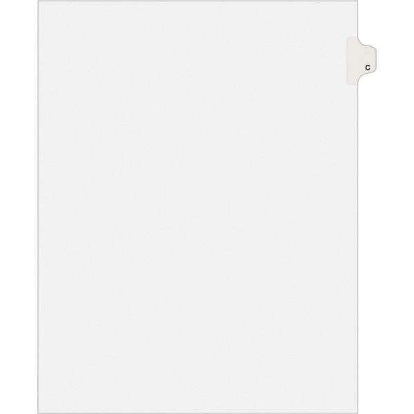 Avery-Style Legal Exhibit Side Tab Dividers, 1-Tab, Title C, Ltr, White, 25/PK