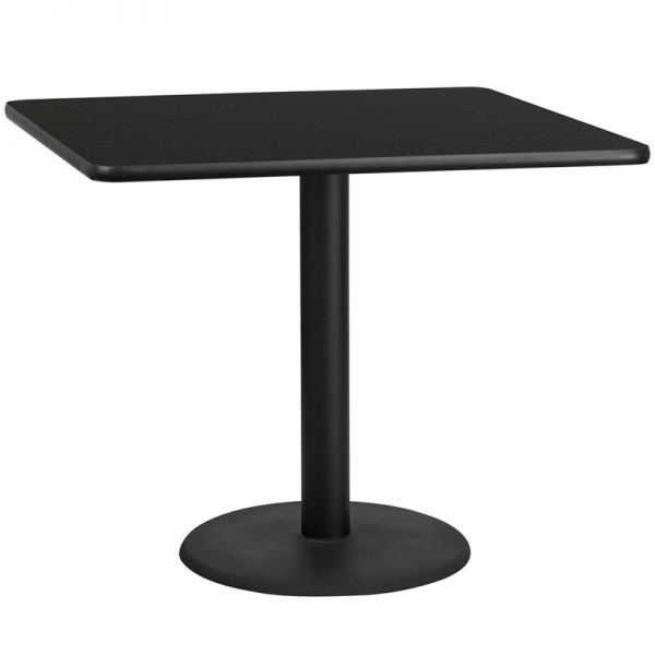 Flash Furniture 42'' Square Black Laminate Table Top with 24'' Round Table Height Base