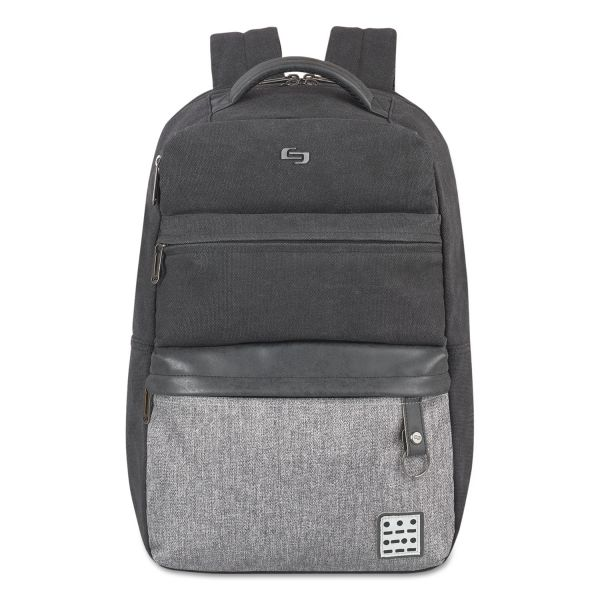 "Solo Urban Code Backpack, 15.6"", 12 1/4 x 5 x 18, Black/Gray"