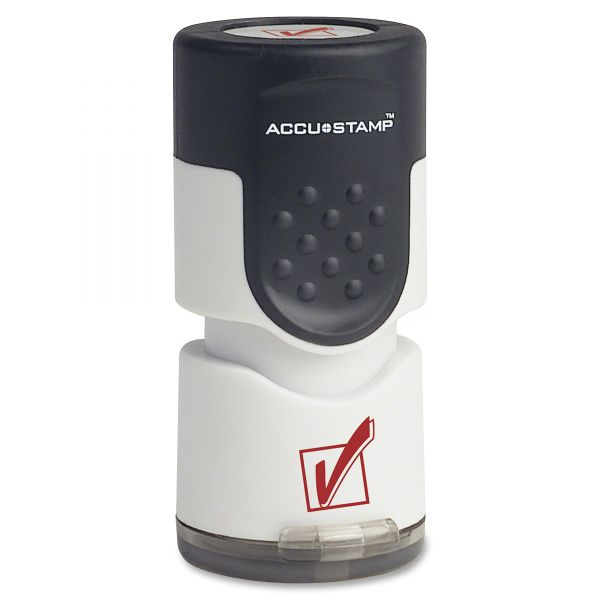 """ACCUSTAMP Accustamp Pre-Inked Round Stamp with Microban, Check Mark, 5/8"""" dia, Red"""