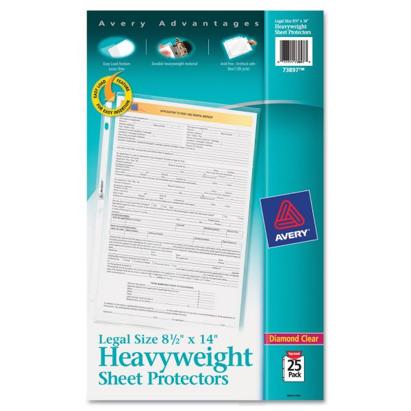 Avery Top-Load Polypropylene Sheet Protector, Legal, Heavy, Diamond Clear, 25/Pack