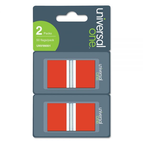 Universal Page Flags, Red, Two Dispensers of 50 Flags per Pack
