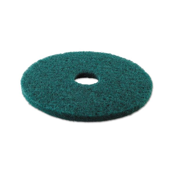 "Boardwalk Standard Heavy-Duty Scrubbing Floor Pads, 13"" Diameter, Green, 5/Carton"