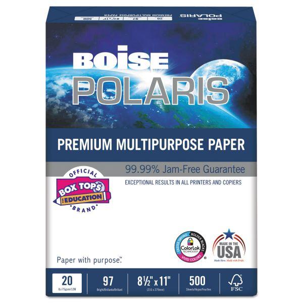 Boise POLARIS Premium Multipurpose Paper, 3-Hole, 8 1/2 x 11, 20lb, White, 5000/CT