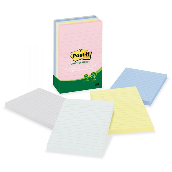 Post-it Greener Notes Recycled Note Pads, Lined, 4 x 6, Assorted Helsinki Colors, 100-Sheet, 5/Pack