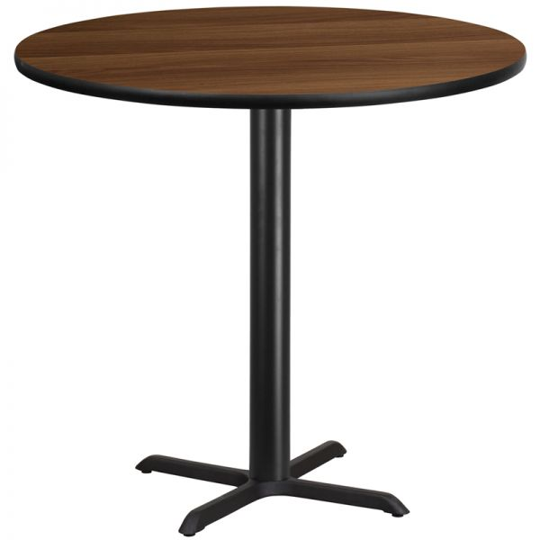 Flash Furniture 42'' Round Walnut Laminate Table Top with 33'' x 33'' Bar Height Table Base